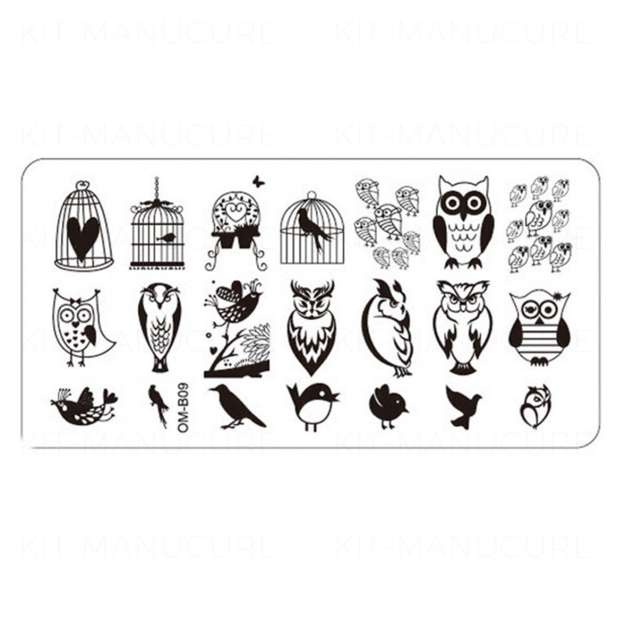 Plaque De Stamping Hibou Chouette Oiseau Et Cage Omb09 intérieur Dessin De Cage D Oiseau