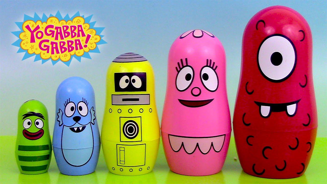 Play Doh Yo Gabba Gabba Nesting Dolls Poupées Russes Gigognes Stacking Cups pour Nom Poupée Russe