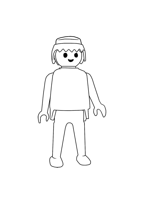 Playmobil Personnage Simple - Coloriage Playmobil intérieur Personnage A Colorier