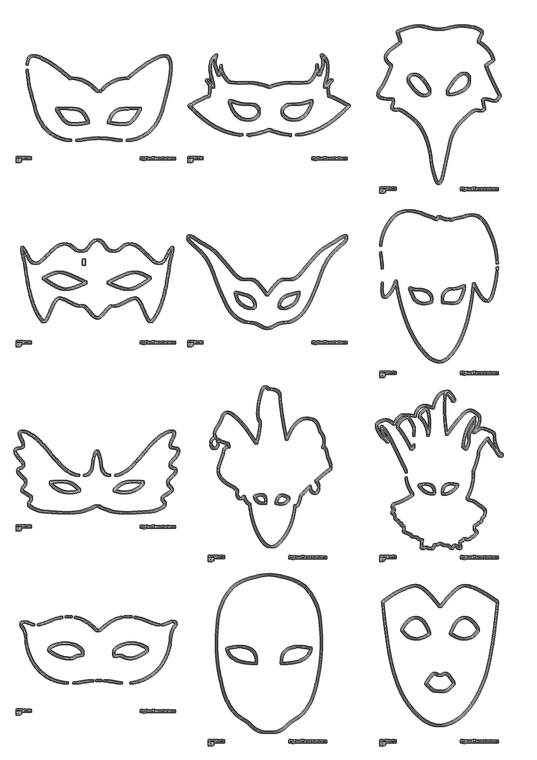 Plus De 30 Masques Classiques À Décorer, À Peindre Ou À avec Modele Masque De Carnaval A Imprimer
