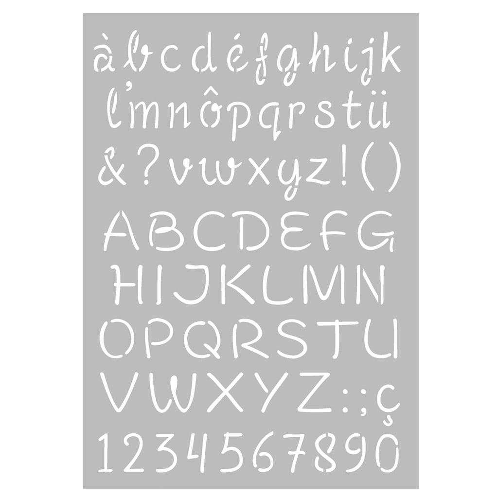 Pochoir Décoratif Home Deco 29,7 X 21 Cm Alphabet En Majuscule Et Minuscule à L Alphabet En Majuscule