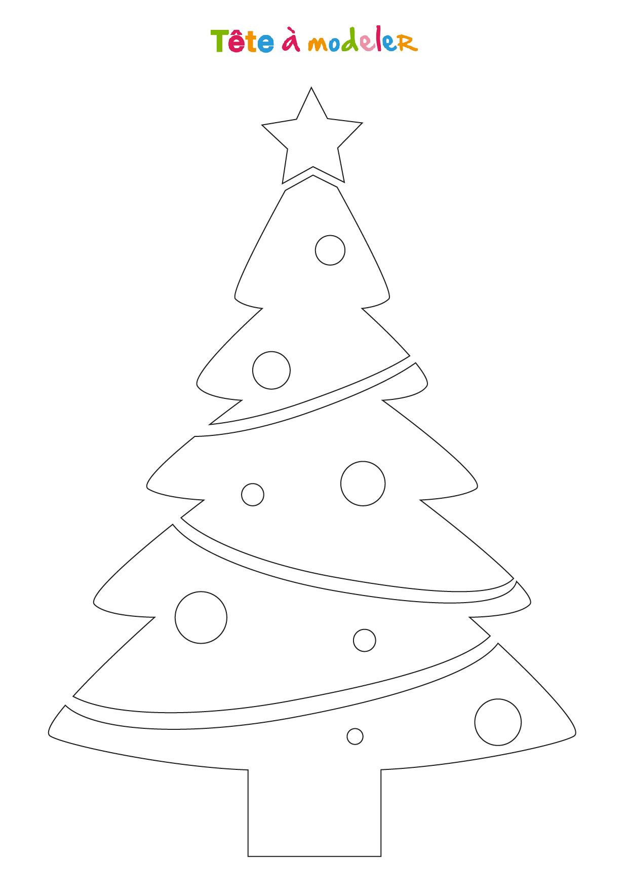 Pochoir Sapin De Noël 2L À Imprimer - Tête À Modeler intérieur Coloriage De Sapin De Noel A Imprimer Gratuit