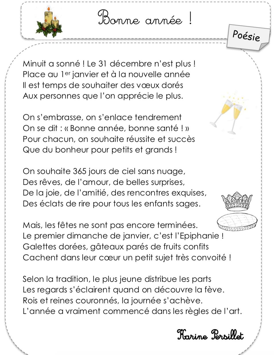 """Poésie """"bonne Année"""" De Karine Persillet - Le Cartable De serapportantà Mots Croisés Gratuits À Imprimer Cycle 3"""