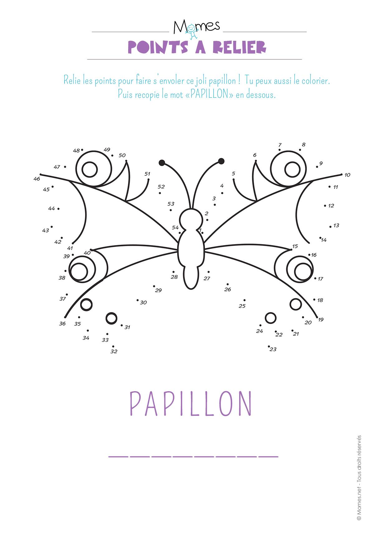 Points À Relier : Le Papillon - Momes avec Jeux Point À Relier