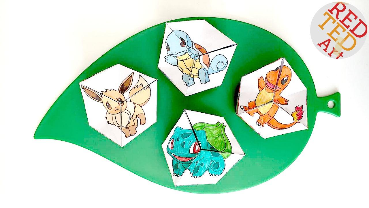 Pokemon Evolution Diy Kaleidoscope Paper Toy - Red Ted Art concernant Paper Toy A Imprimer