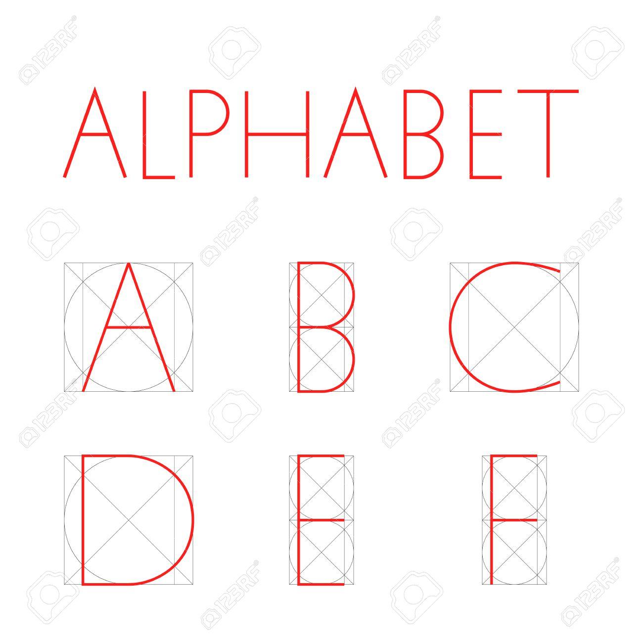 Police Géométrique Vectorielle. Construction De L'alphabet Des Lettres.  Lettre Rouge En Forme Géométrique Droite - Carré Et Cercle. A B C D E F concernant Alphabet En Pointillé A Imprimer