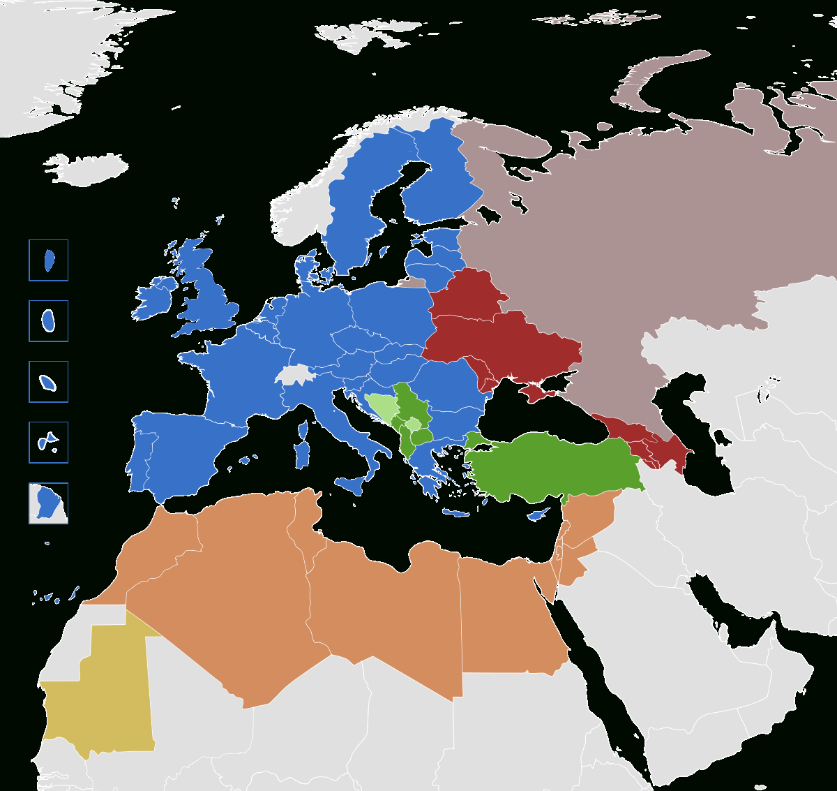 Politique Européenne De Voisinage — Wikipédia destiné Carte De L Europe Avec Pays