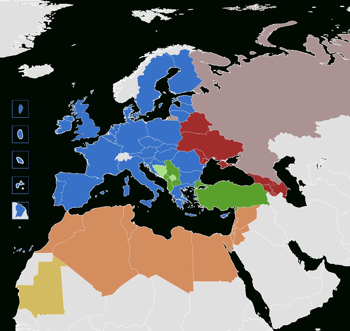 Politique Européenne De Voisinage — Wikipédia encequiconcerne Carte Pays D Europe