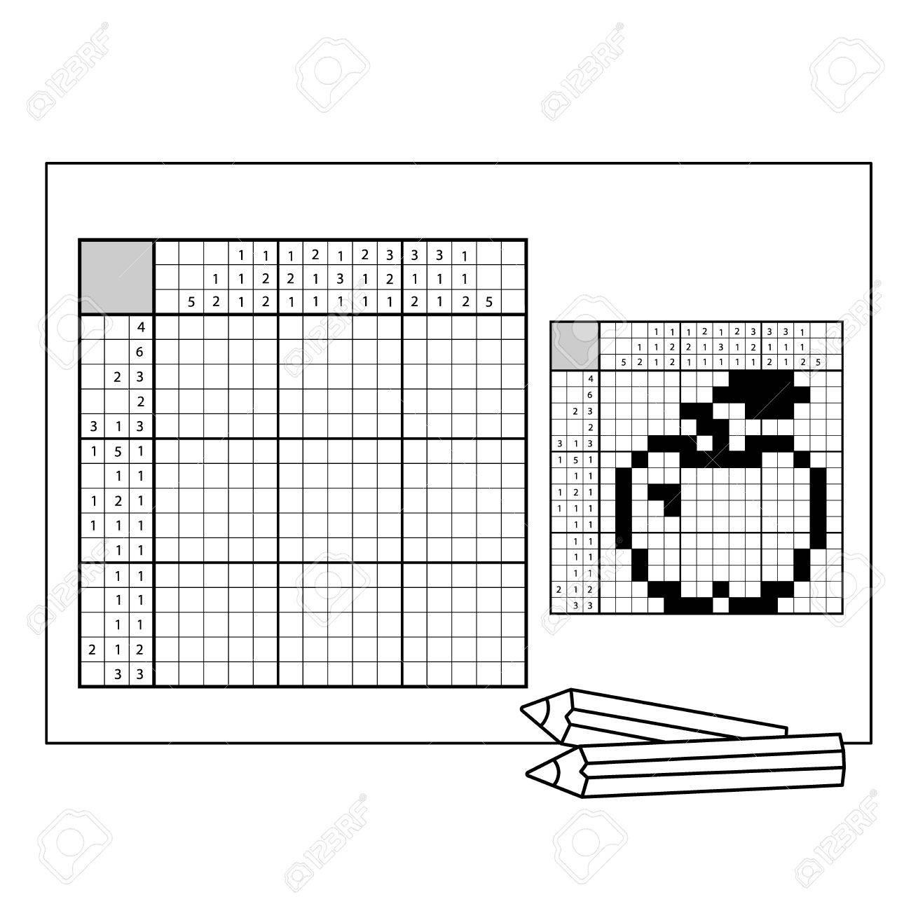 Pomme. Mots Croisés Japonais En Noir Et Blanc Avec La Réponse. Mots Croisés  Graphique. Jeu De Puzzle Pour Tout Âge. à Réponse Mots Fléchés