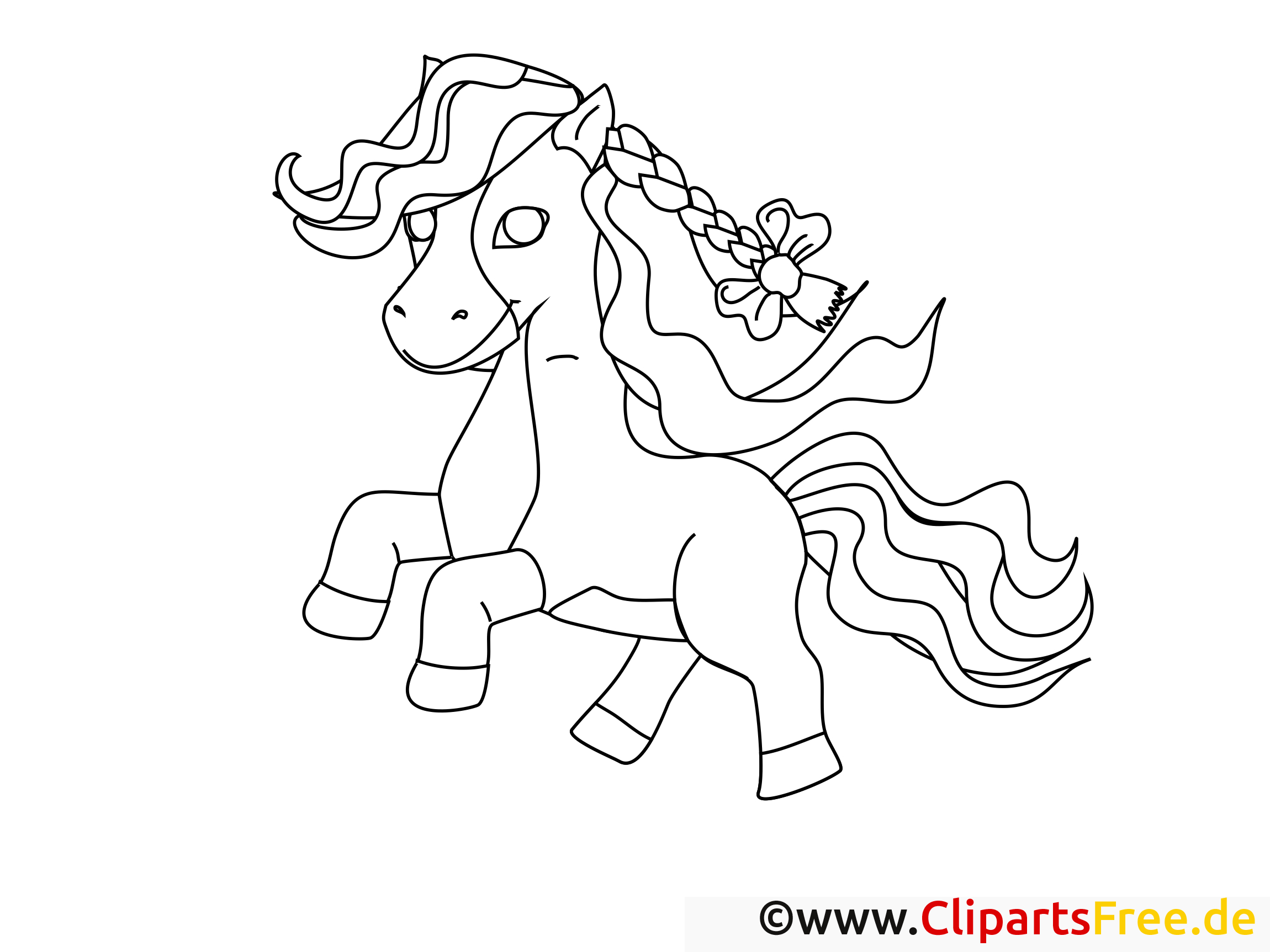Poney Clip Art Gratuit – Cheval À Colorier - Chevaux avec Image De Cheval A Colorier