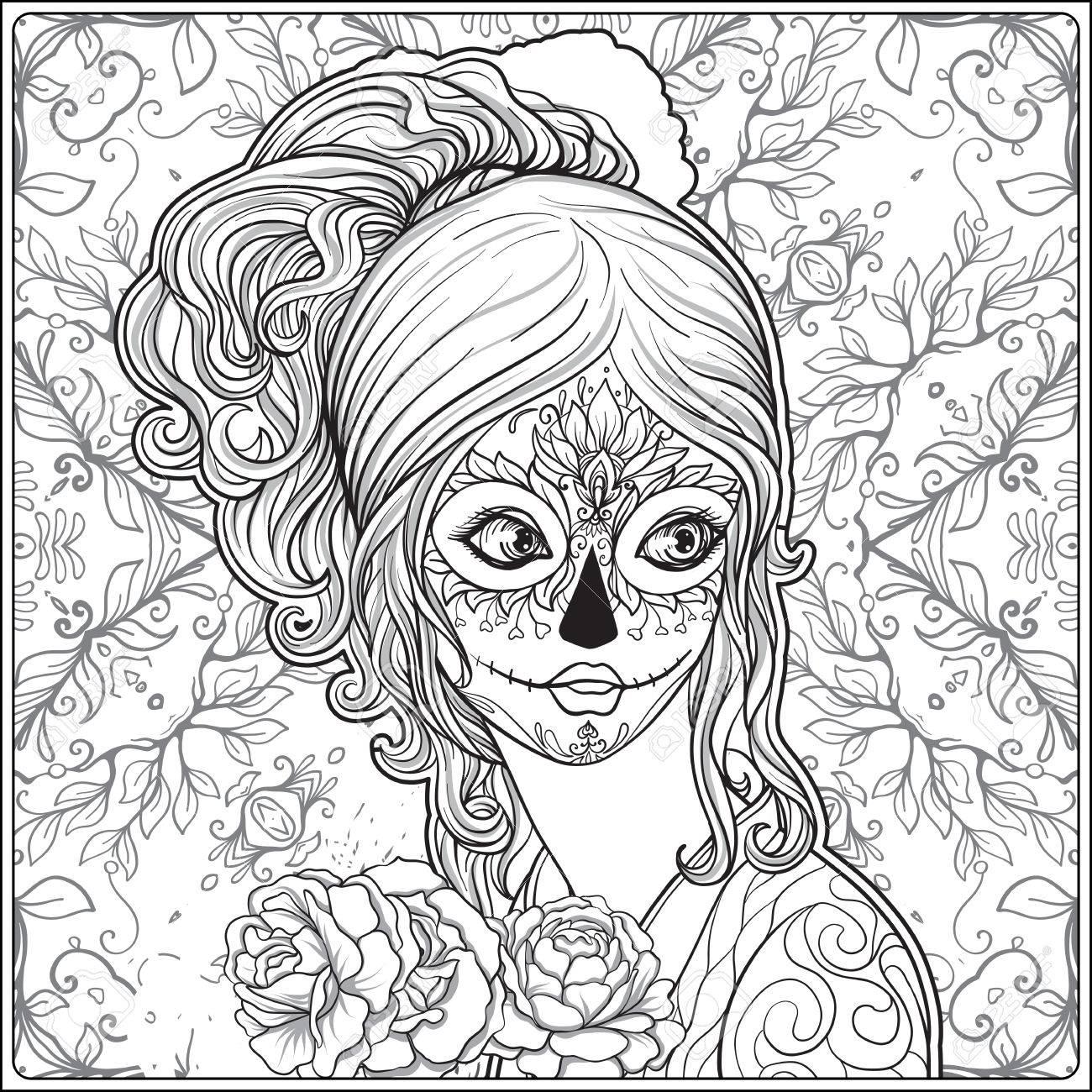 Portrait D'une Belle Jeune Fille Halloween Ou Jour Des Morts Maquillage Sur  Fond Décoratif. Dessiner La Main Coloriage Dessin À La Main Pour Le Livre concernant Dessin D Halloween Facile A Dessiner