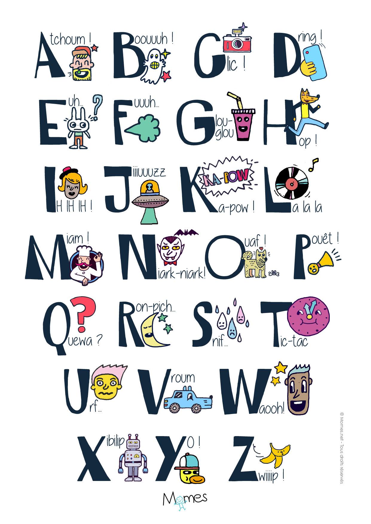 Poster Alphabet Des Onomatopées - Momes à Alphabet Français À Imprimer
