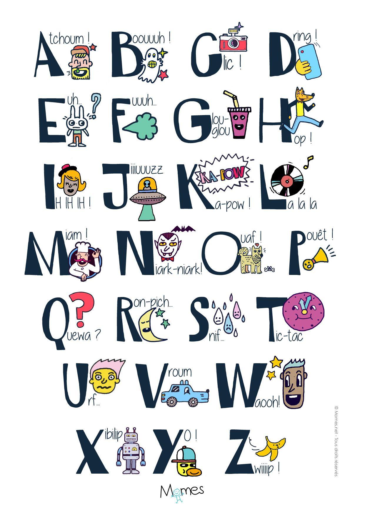 Poster Alphabet Des Onomatopées | Poster Alphabet, Alphabet tout Apprendre L Alphabet En Francais Maternelle