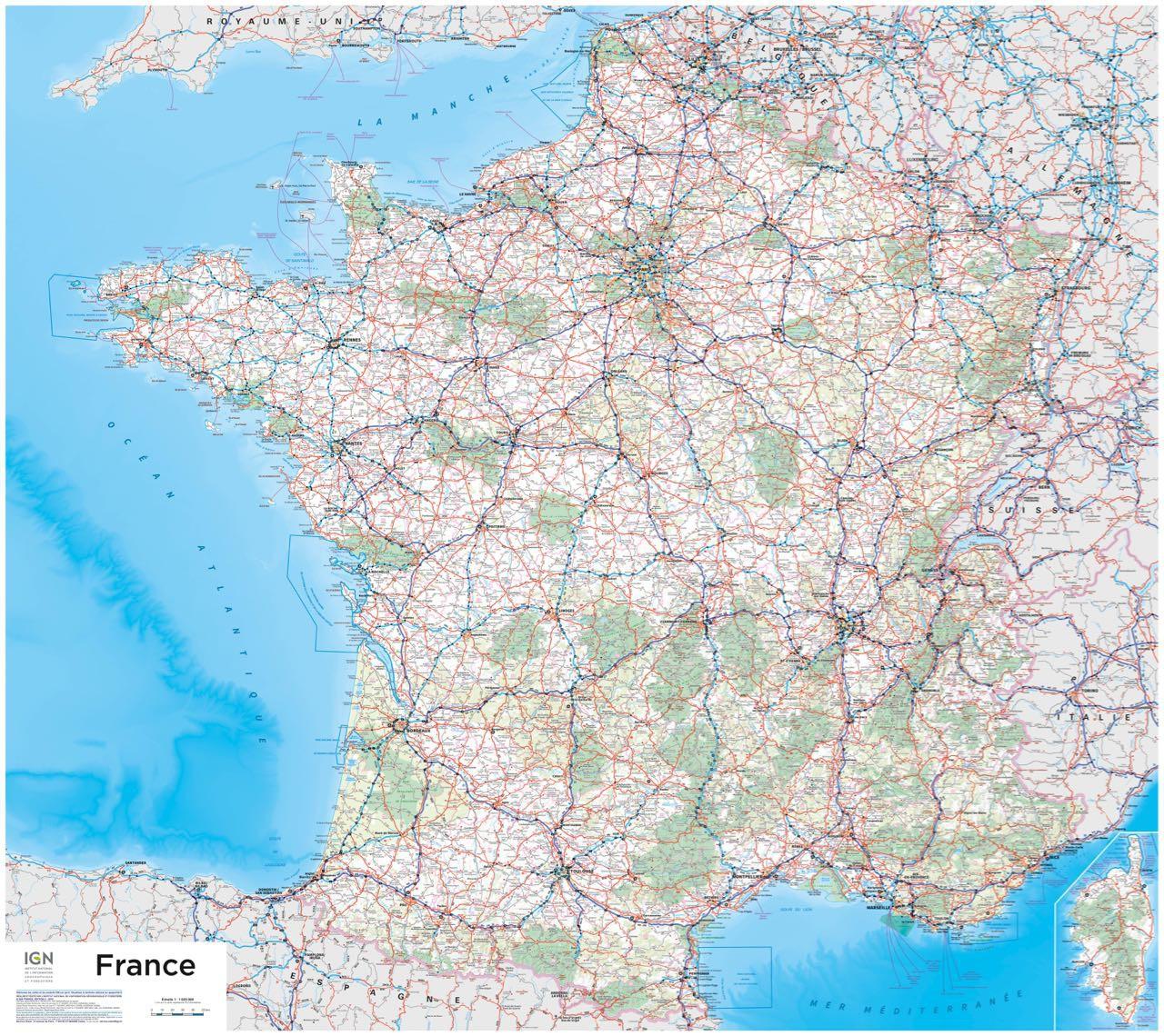 Poster France (Version Plastifiée) à Carte De France Detaillée Gratuite