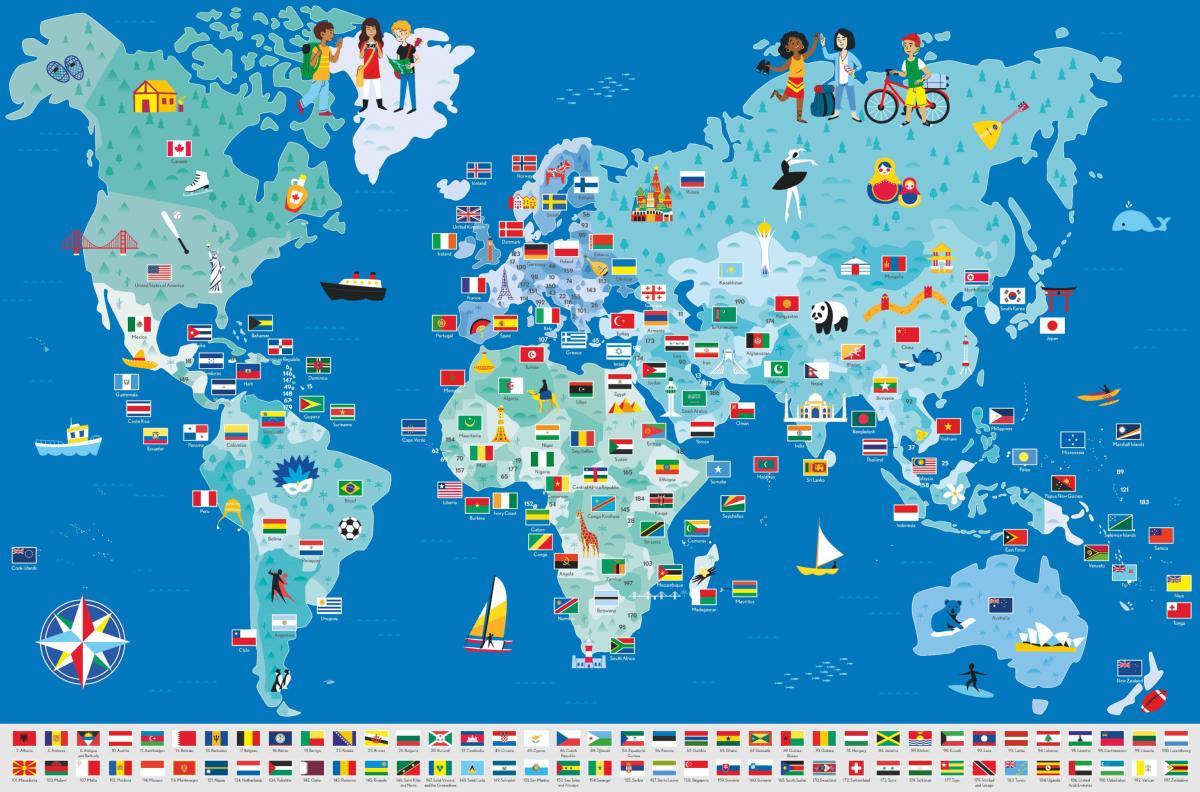 Poster Géant + 200 Stickers , Drapeaux Du Monde pour Carte Du Monde Avec Capitale