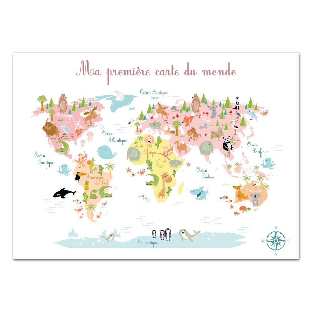 Poster Ma Premiere Carte (Post0095) intérieur Carte Du Monde Enfant