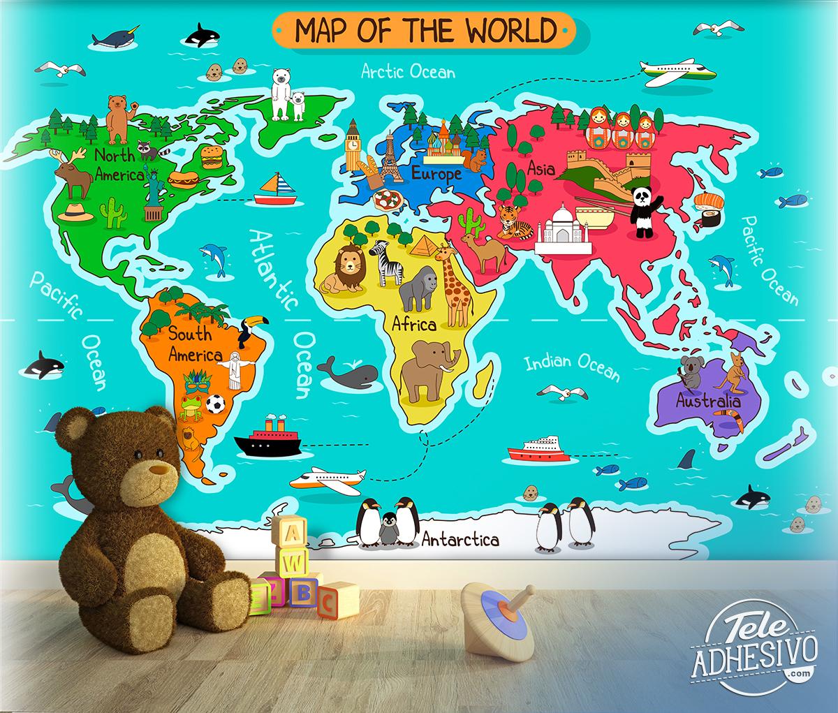 Poster Xxl Carte Du Monde Des Enfants | Webstickersmuraux intérieur Carte Du Monde Enfant