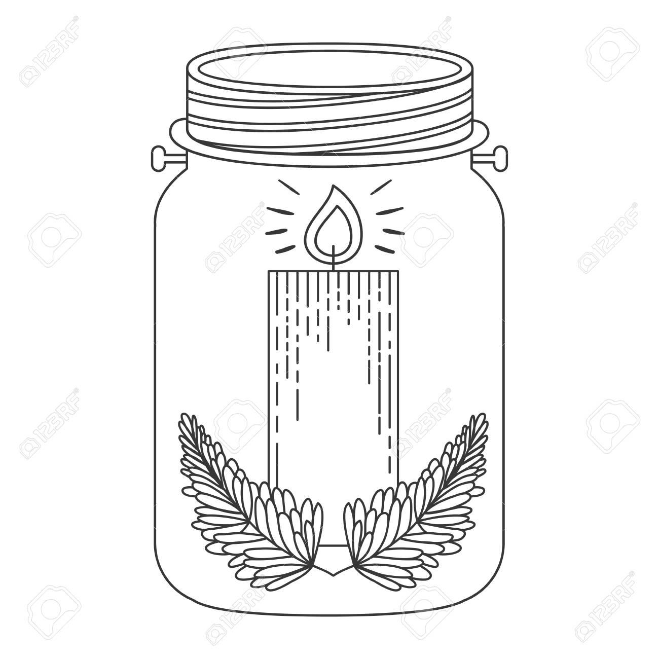 Pot Mason Avec Décoration De Bougie De Noël À L'intérieur. Esquisse Et  Dessin Du Dessin. Illustration Vectorielle intérieur Dessin Sur Bougie