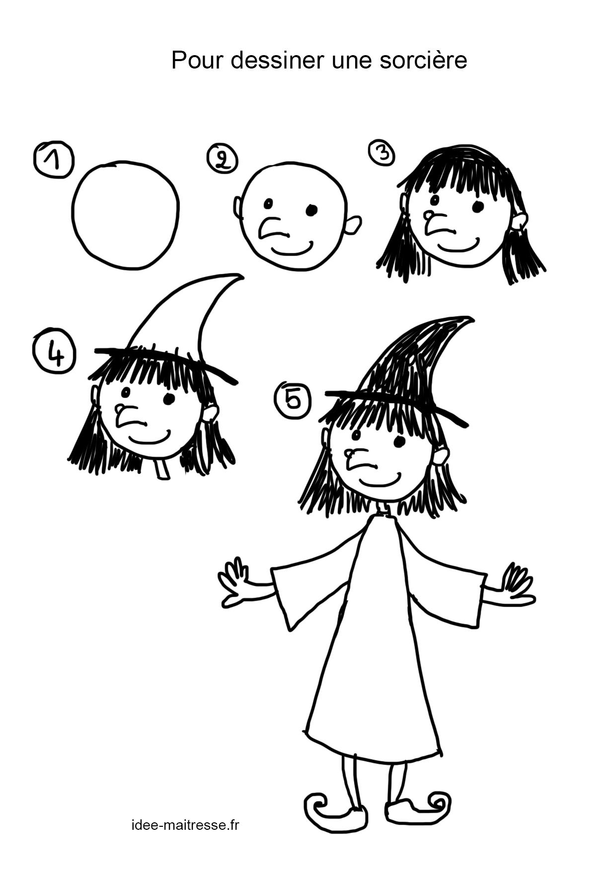 Pour Dessiner Une Sorcière - serapportantà Dessin D Halloween Facile A Dessiner