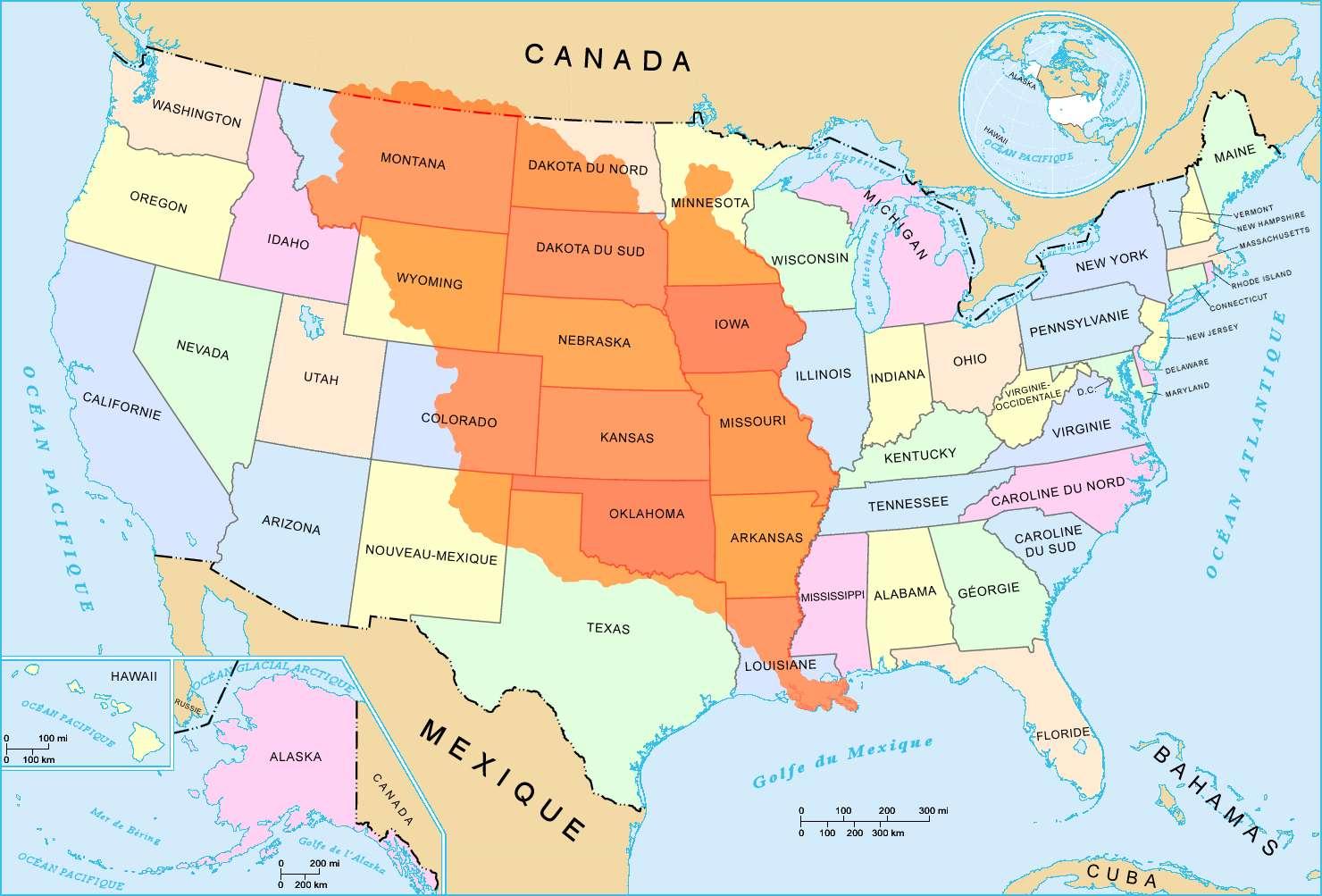 Pourquoi La France A-T-Elle Vendu La Louisiane ? intérieur Carte Etat Amerique