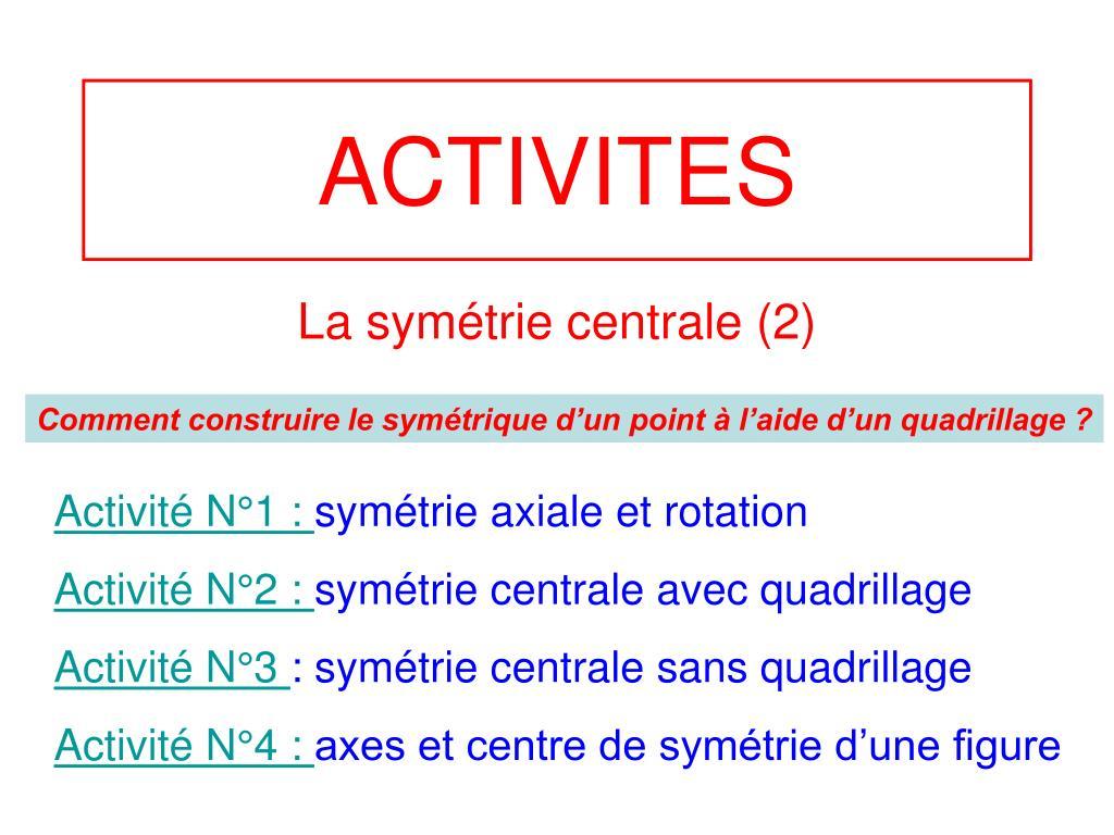 Ppt - Activites Powerpoint Presentation, Free Download - Id à Symétrie Quadrillage