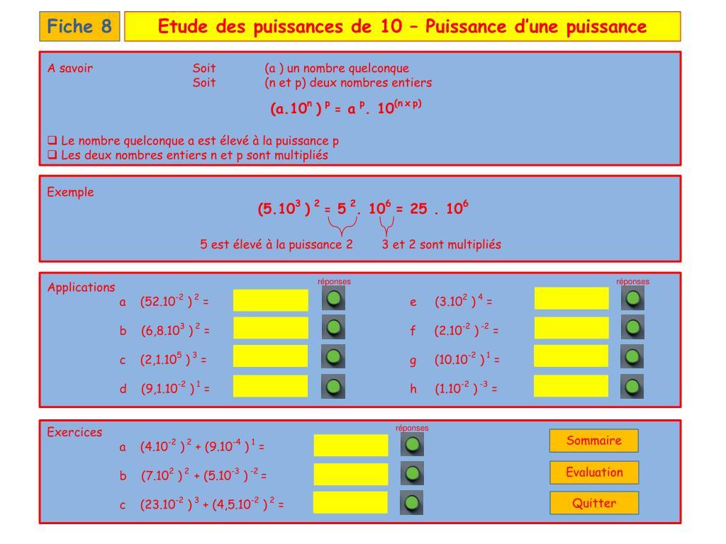 Ppt - Les Puissances De 10 - Sommaire Powerpoint avec Puissance 4 A Deux