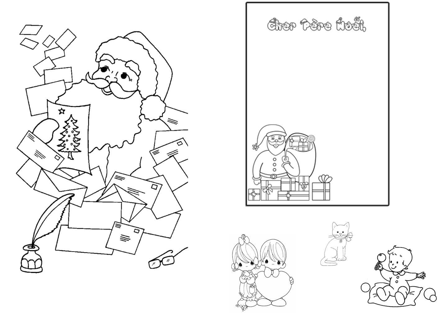 Ppt] Lettre Pere Noel A Colorier pour Coloriage De Père Noel Gratuit A Imprimer