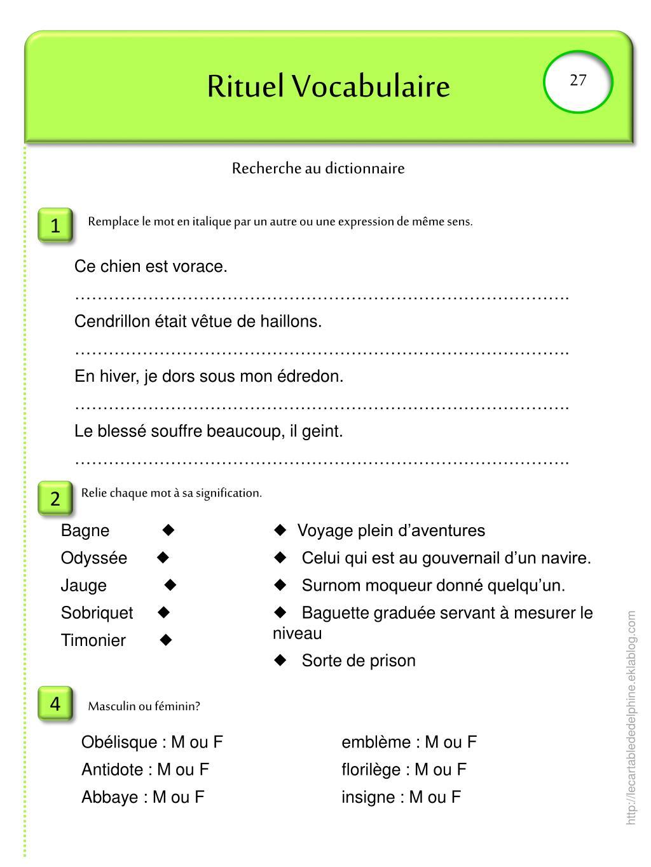 Ppt - Rituel Vocabulaire Powerpoint Presentation, Free destiné Dictionnaire Des Mots Croisés Gator