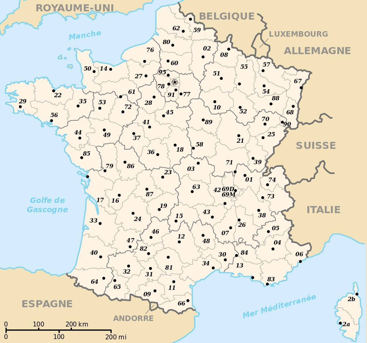 Prefectures In France - Wikipedia à Région Et Département France