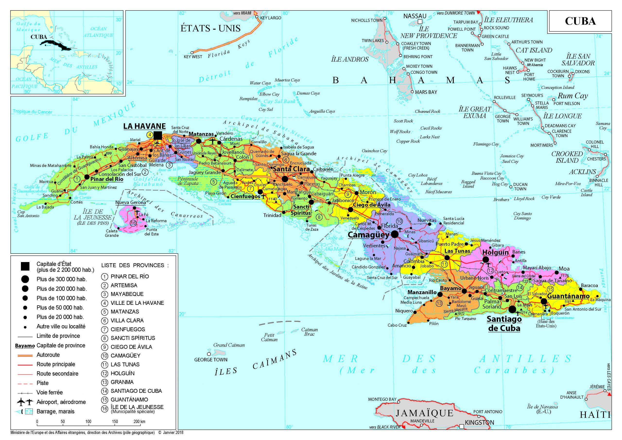 Présentation De Cuba - Ministère De L'europe Et Des Affaires à Carte D Europe En Francais