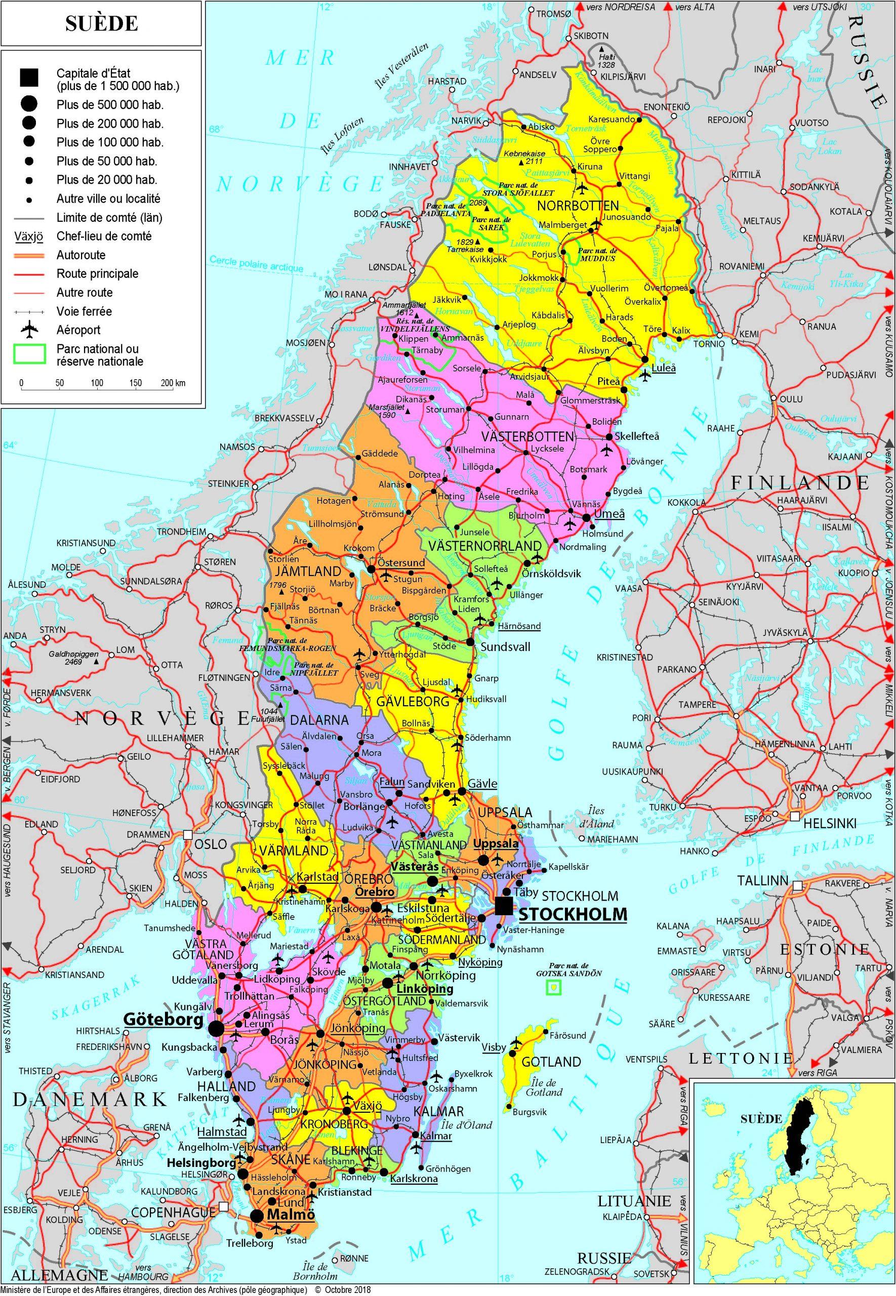 Présentation De La Suède - Ministère De L'europe Et Des concernant Carte D Europe À Imprimer