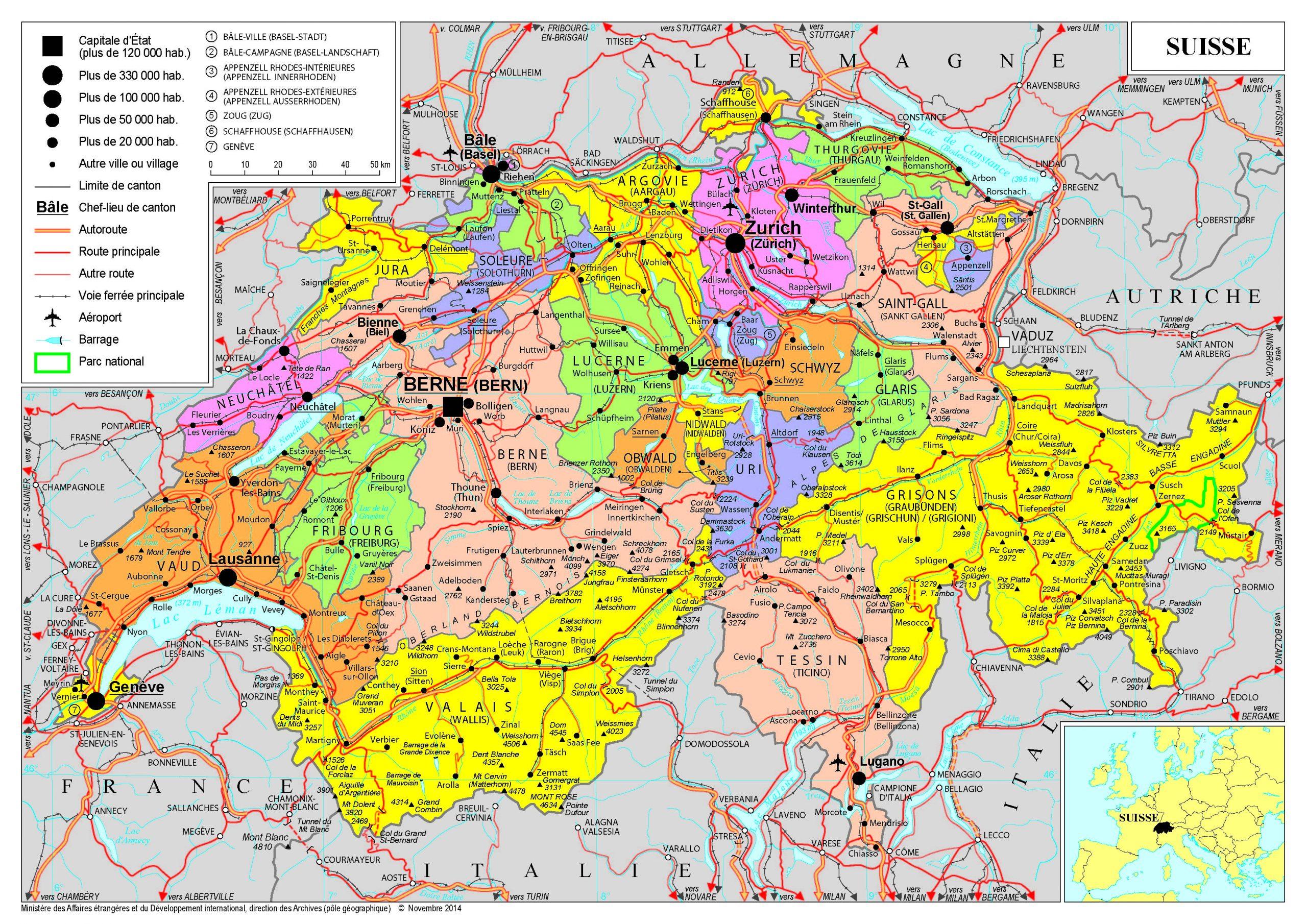 Présentation De La Suisse - Ministère De L'europe Et Des intérieur Carte D Europe En Francais