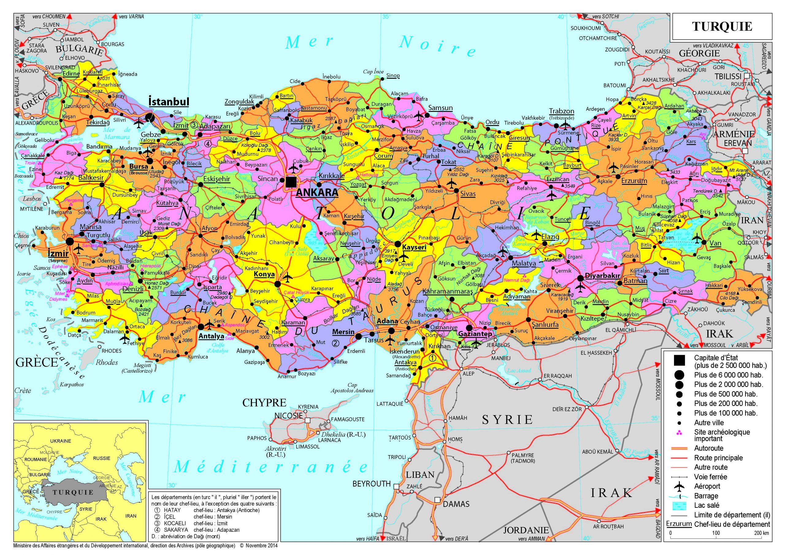 Présentation De La Turquie - Ministère De L'europe Et Des concernant Carte D Europe Avec Pays