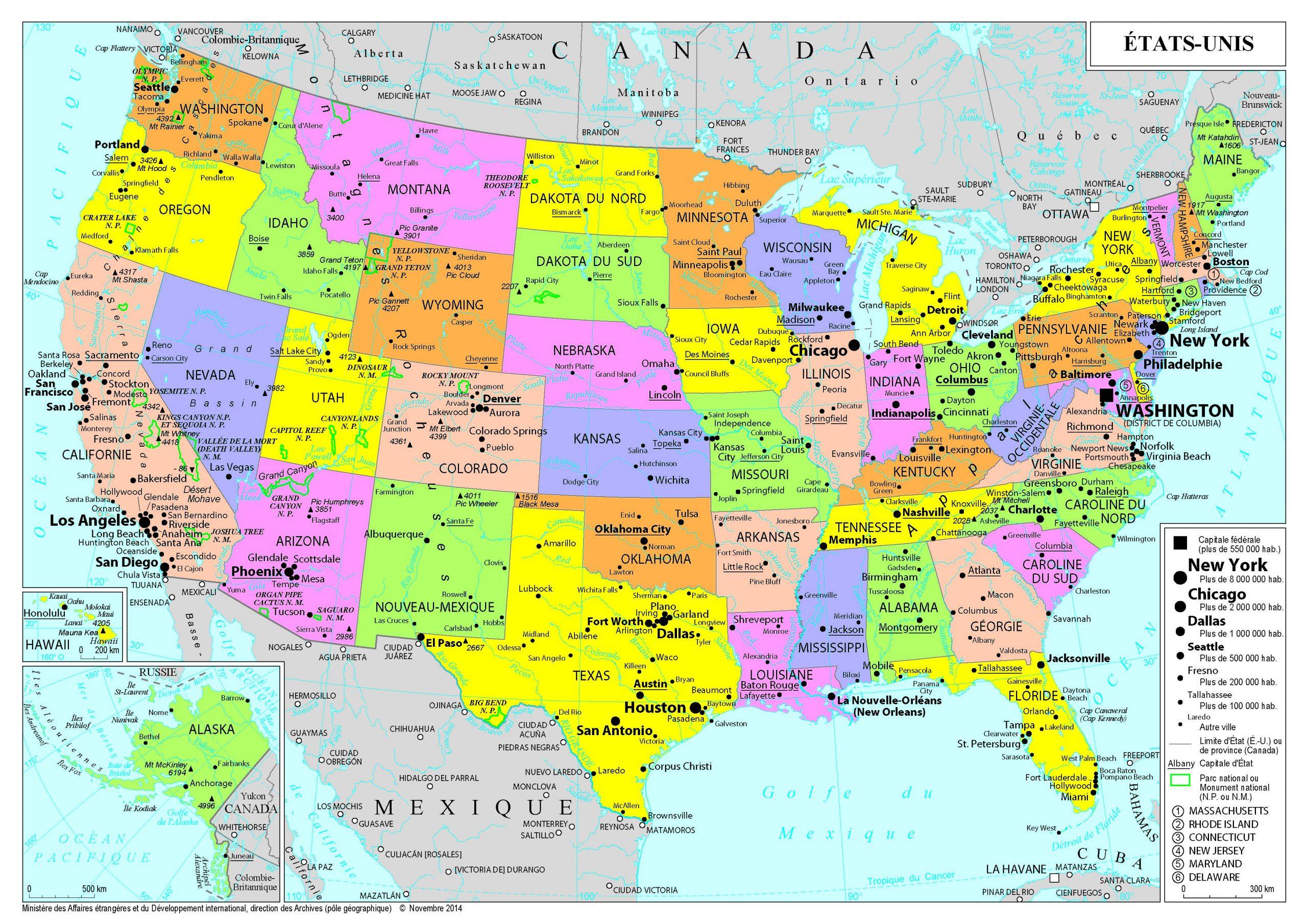 Présentation Des États-Unis - Ministère De L'europe Et Des intérieur Carte Des Etats Unis À Imprimer