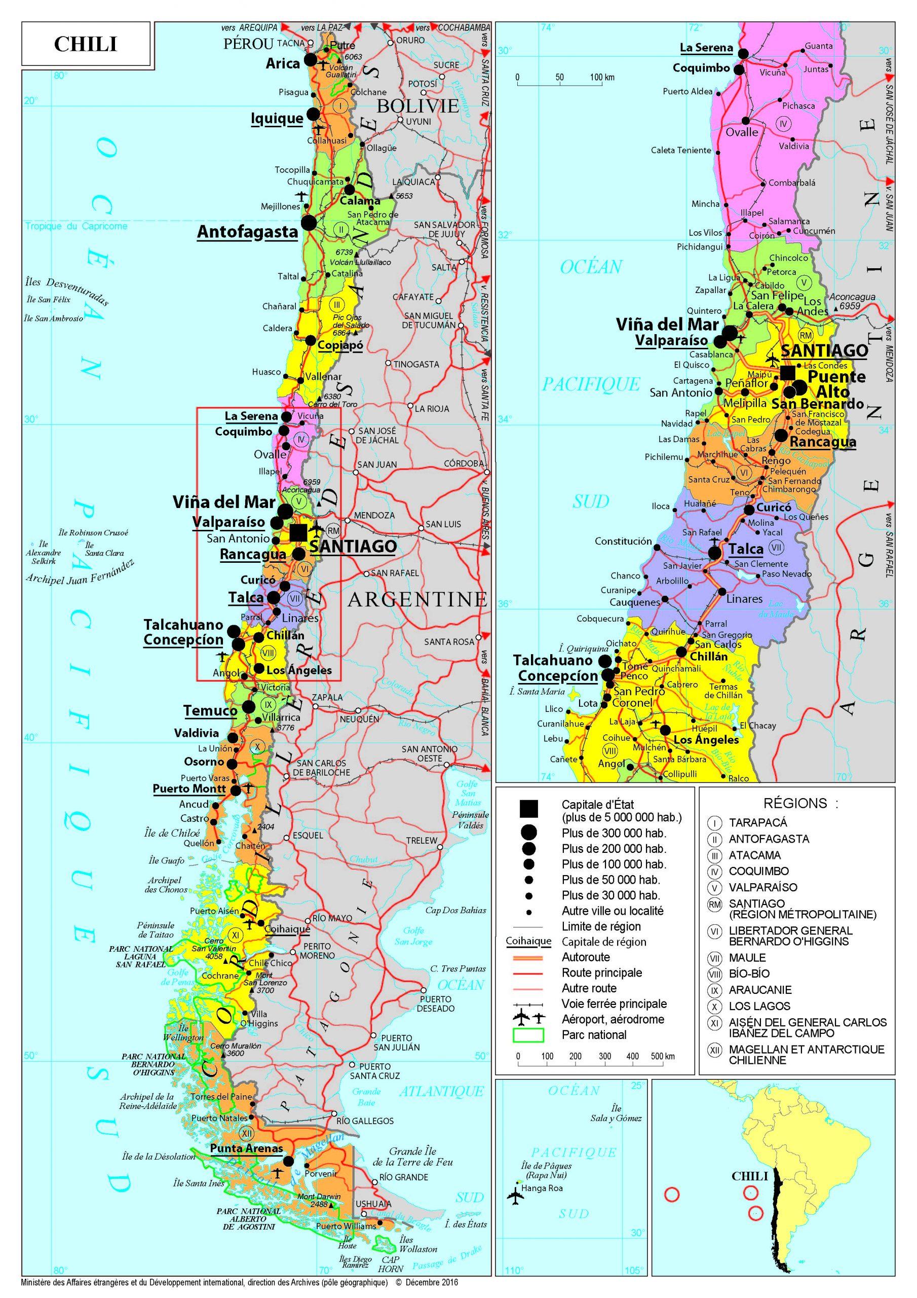 Présentation Du Chili - Ministère De L'europe Et Des concernant Combien De Region En France