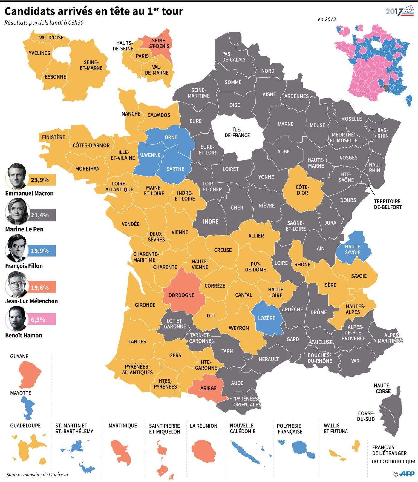 Présidentielle : Marine Le Pen En Tête Dans Plusieurs à Carte Des Départements De France 2017