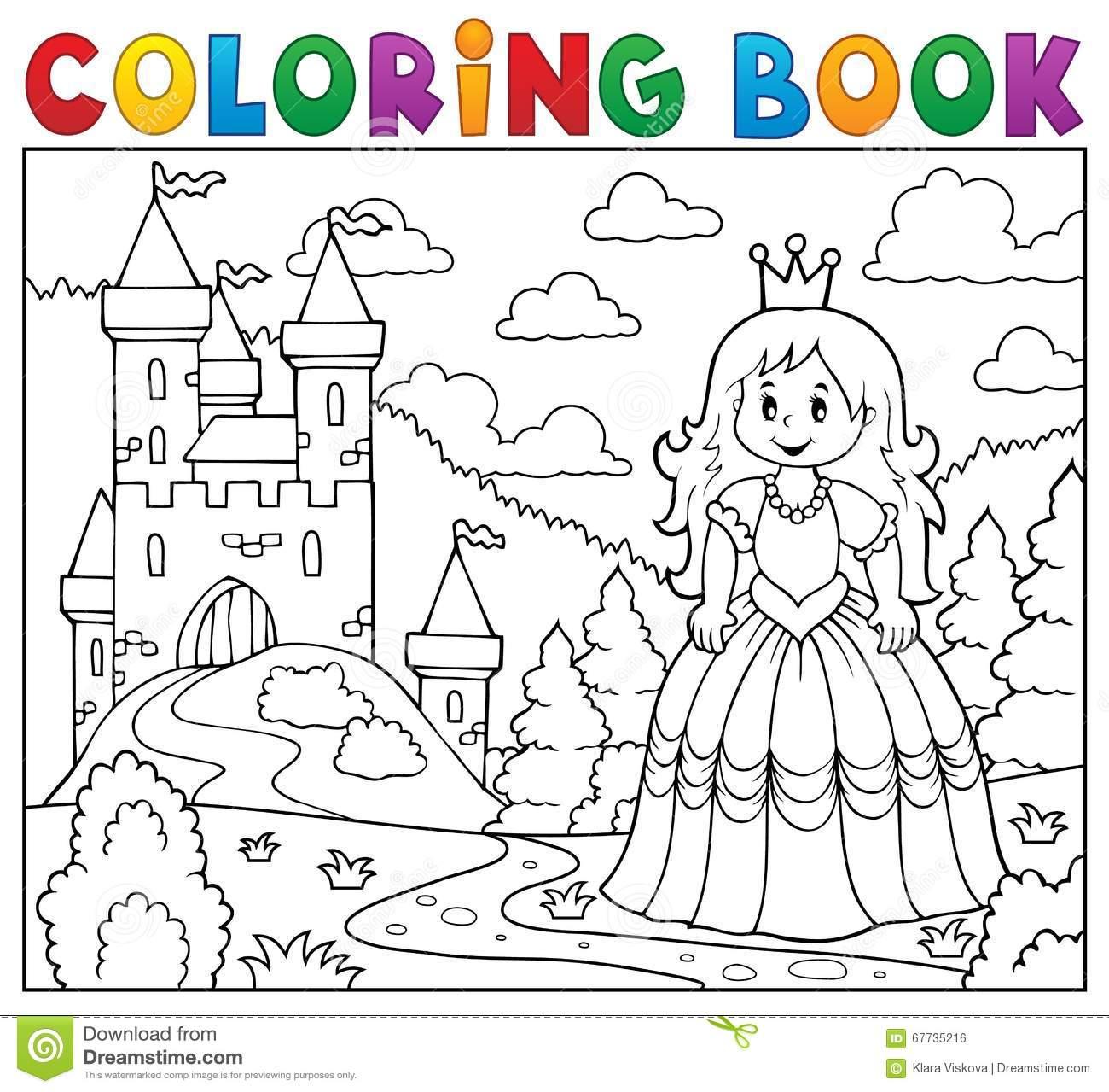 Princesse De Livre De Coloriage Près De Château Illustration destiné Dessin Chateau Princesse