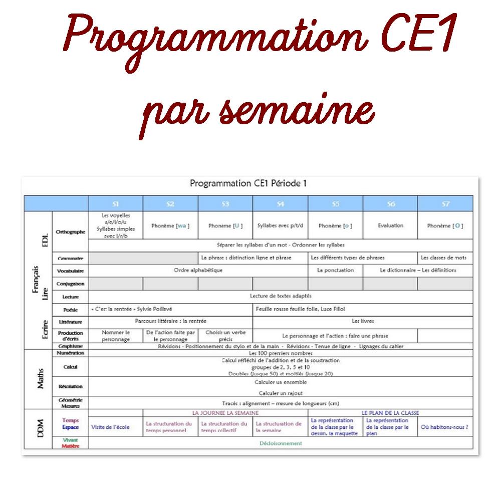 Programmation Ce1 Par Semaine serapportantà Fiche Français Ce1 Imprimer