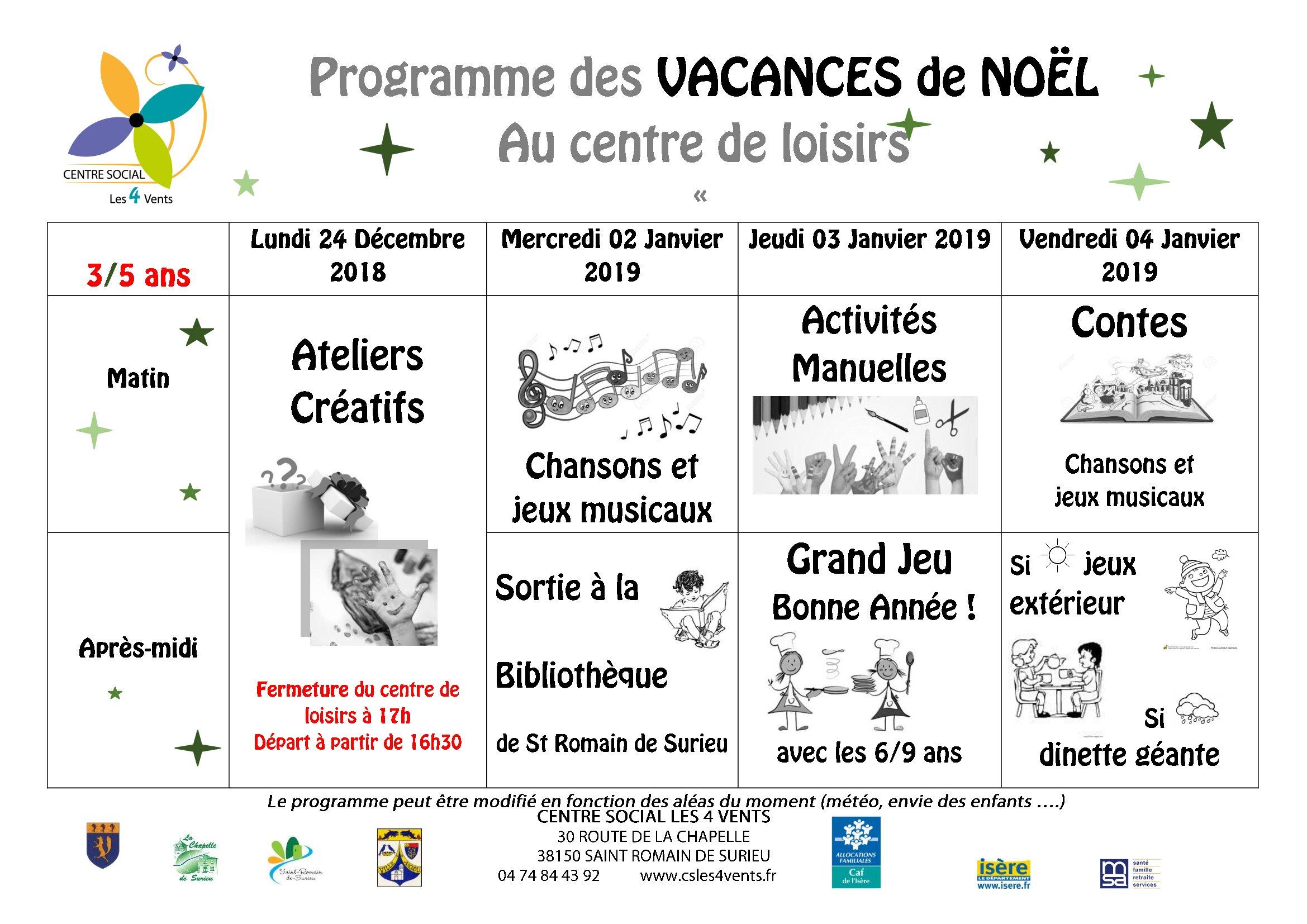 Programmes Des Vacances De Noel – Centre Social Les 4 Vents encequiconcerne Jeux Pour 3 5 Ans