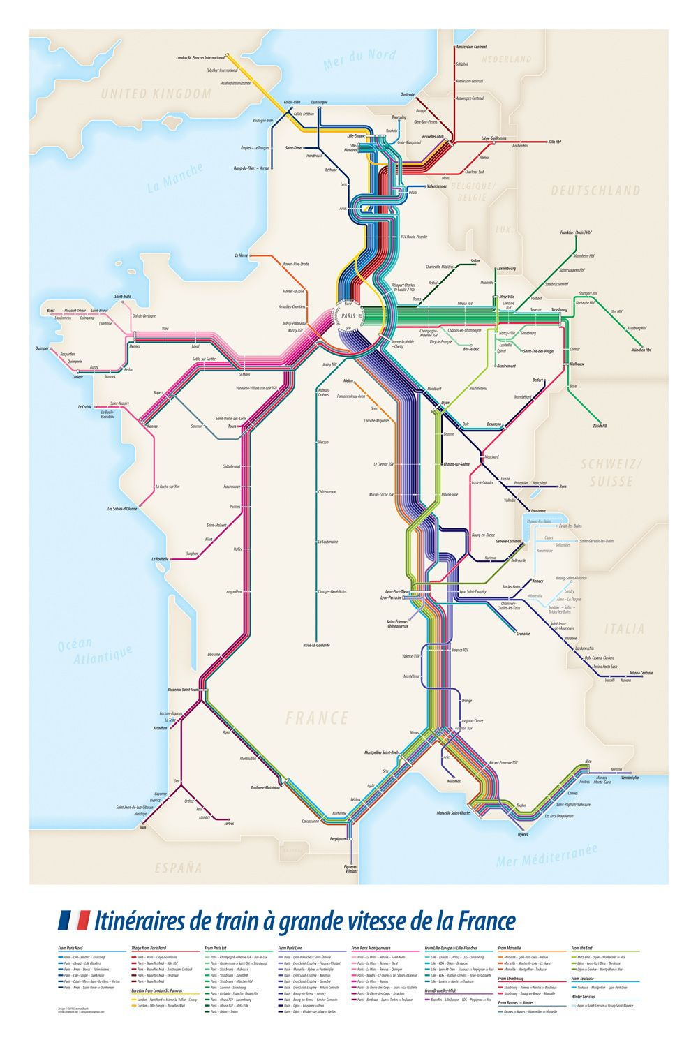 Project: High Speed Train Routes Of France Transit Diagram avec Decoupage Region France