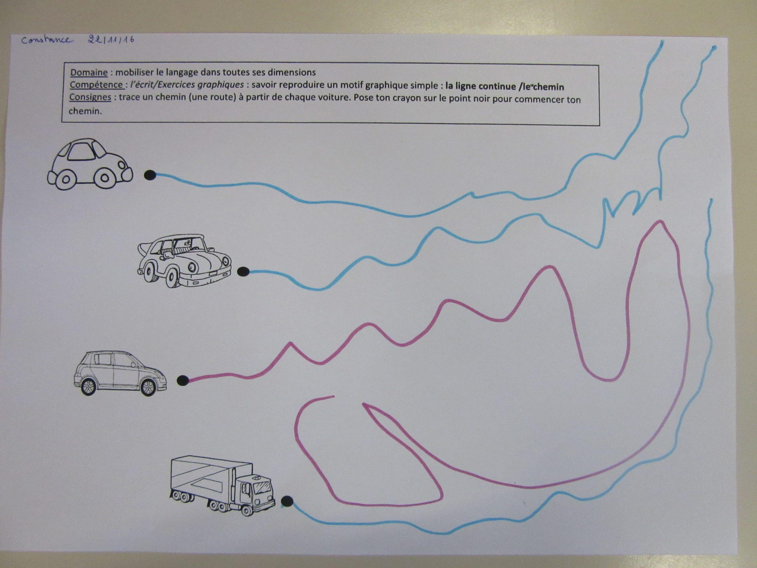 Ps/ Les Lignes Continues: Les Chemins / Graphisme Sur Plan destiné Exercice Petite Section En Ligne