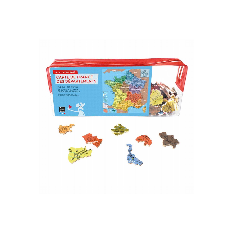 Puzzle 100 Pièces En Bois : Carte De France Des Départements à Apprendre Les Départements En S Amusant