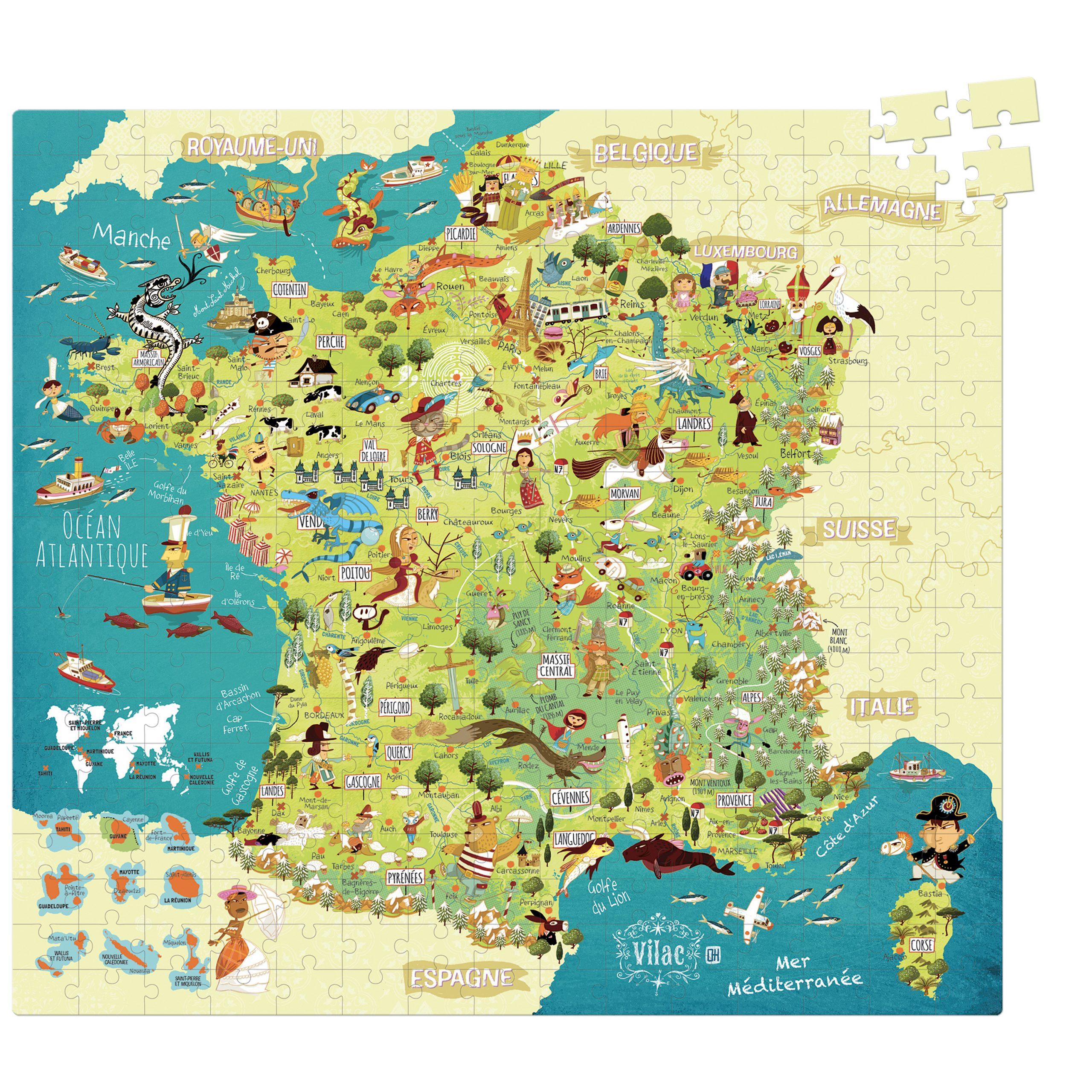 Puzzle 300 Pièces - Carte De France - Dès 8 Ans - Vilac intérieur Jeu Carte De France