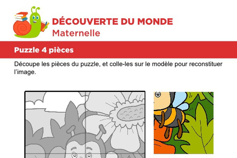 Puzzle 4 Pièces, Une Petite Abeille à Découpage Maternelle À Imprimer