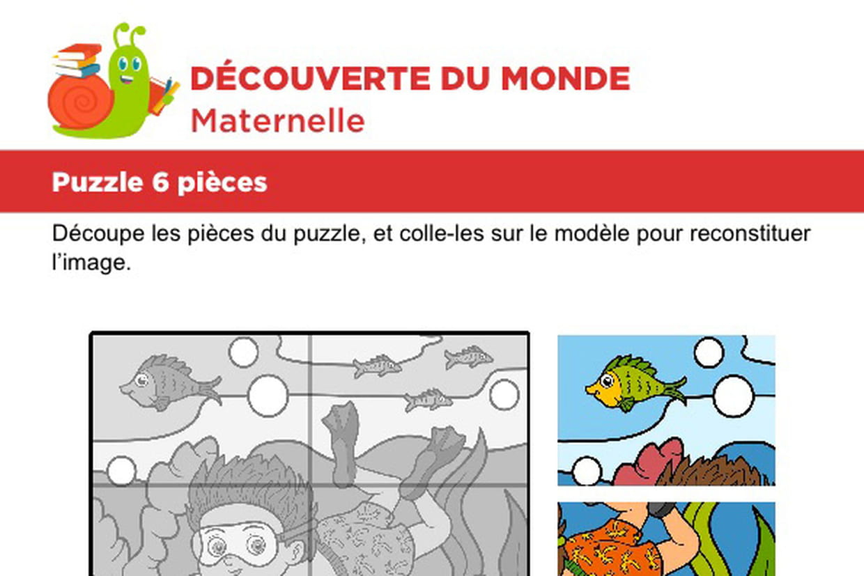 Puzzle 6 Pièces, Le Plongeur serapportantà Puzzle En Ligne Maternelle