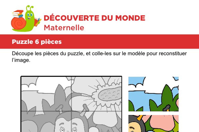 Puzzle 6 Pièces, Une Petite Abeille encequiconcerne Découpage Collage A Imprimer