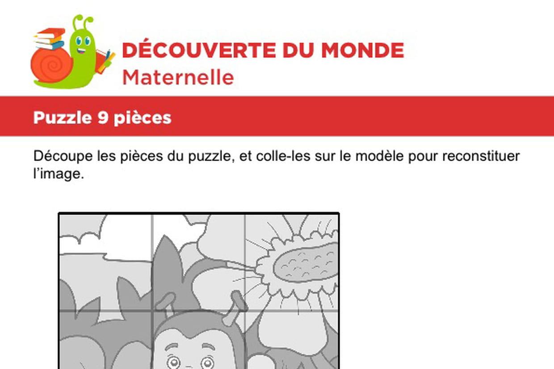 Puzzle 9 Pièces, Une Petite Abeille destiné Découpage Collage Maternelle À Imprimer