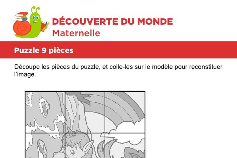 Puzzle 9 Pièces, Une Petite Licorne destiné Découpage Collage A Imprimer
