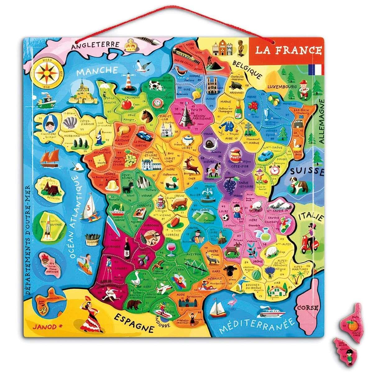 Puzzle Carte De France Magnétique - 93 Pièces | Carte De encequiconcerne Puzzle Des Départements Français