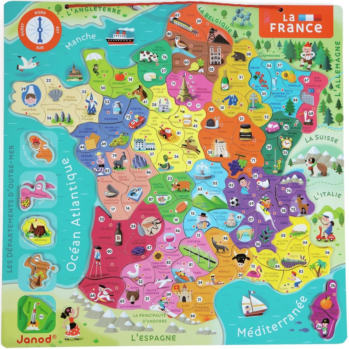 Puzzle Carte De France Magnétique - Jeux dedans Puzzle Des Départements Français